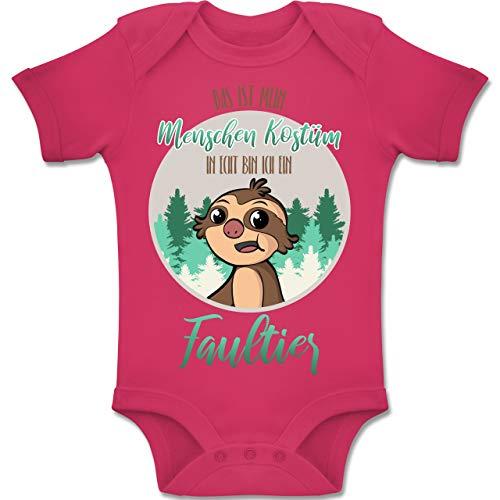 Kostüm Baby Sloth - Shirtracer Karneval und Fasching Baby - Das ist Mein Menschen Kostüm in echt Bin ich EIN Faultier - 3-6 Monate - Fuchsia - BZ10 - Baby Body Kurzarm Jungen Mädchen