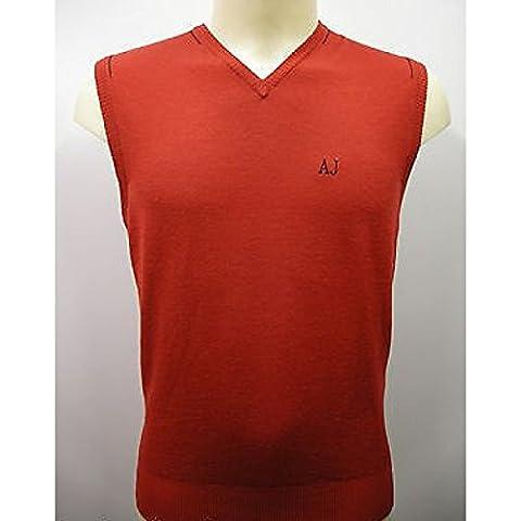 Chaleco de sueter sin mangas, col de lana para hombre Armani Jeans AJ N6W24 t. M. Amaranto rojo F4