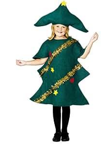 halloweenia–Unisex Bambini Costume Natale Albero di Natale Abete albero, 104–152, 4–12anni, verde