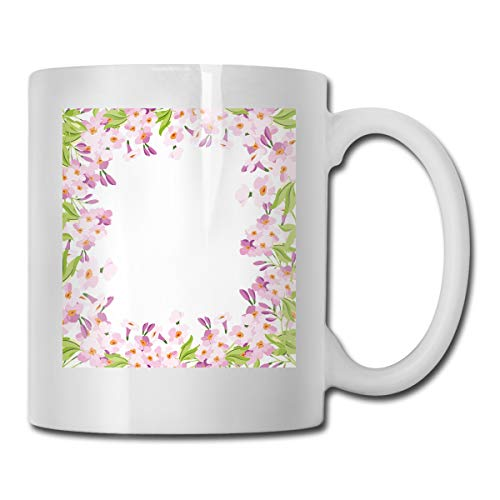 Funny Ceramic Novelty Coffee Mug 11oz,Floral Frame with Pink Meadow Flowers In Spring Foliage Blooms Nature Ornate,Unisex Who Tea Mugs Coffee Cups,Suitable for Office and Home