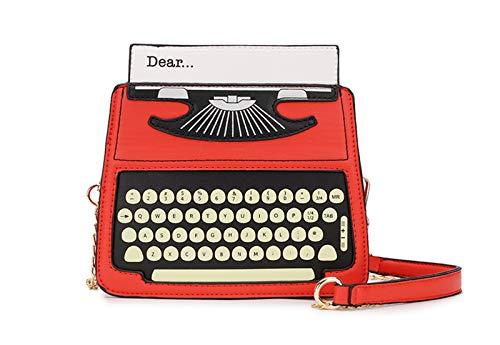 XUZISHAN Schwarz & Rot Cartoon Schreibmaschine Design Pu\'S Leder Frauen Casual Schultertasche Crossbody Mini Messenger Bag Handtasche Klappe Rot