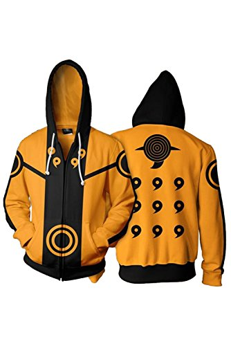 Naruto Sharingan Hokage Pulli Kapuzenpulli Cosplay Kostüm Orange 5XL