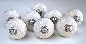 Lot de 8 boutons de Porte Placard Tiroir Meuble Céramique craquelé blanc