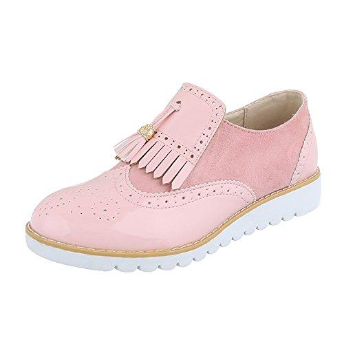 Ital-Design - Zapatos Planos con Cordones Mujer , color rosa, talla 3