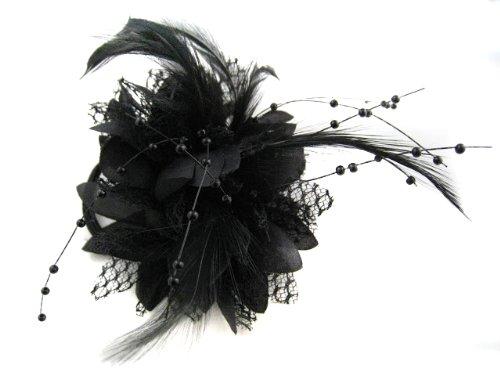 Caprilite Clip pour cheveux Motif fleur, plumes et perles - Noir