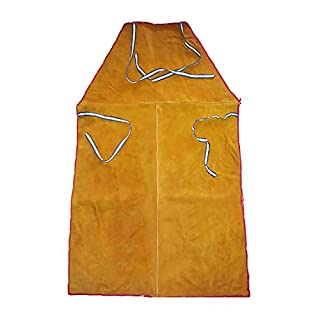 Dolity Full Length Leather Blacksmith Woodworking Welders Apron Fire Resistant