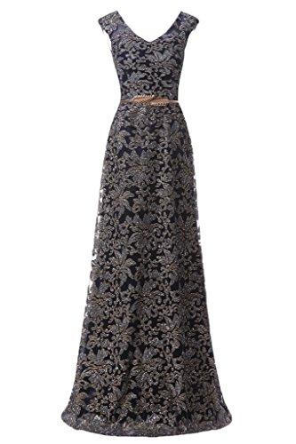 Milano Bride Damen Reizvoll V-Ausschnitt Abendkleider Festkleider Promkleider Tuell mit Stickerei Guertel Lang Schwarz
