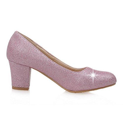 VogueZone009 Damen Ziehen Auf Mittler Absatz Pailletten Rein Rund Zehe Pumps Schuhe Pink