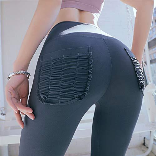 WYLYJTZ Hohe Taille Frauen Yoga Hosen Mit Taschen Push Up Booty Scrunch Leggings Trainingshose Workout Gym Sport Leggins Sportbekleidung - Hohe Bootie