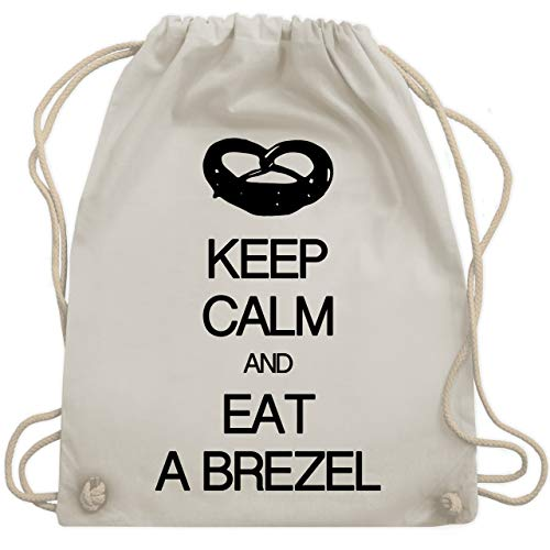 Keep calm - Keep calm and eat a brezel - Unisize - Naturweiß - WM110 - Turnbeutel & Gym Bag - Kontur-bund
