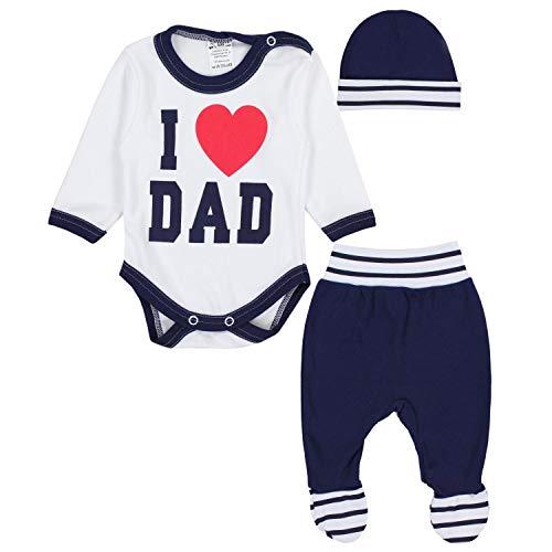 TupTam Baby Bekleidungsset Body Strampelhose Mütze Teddybär, Farbe: I Love Dad Dunkelblau, Größe: 74