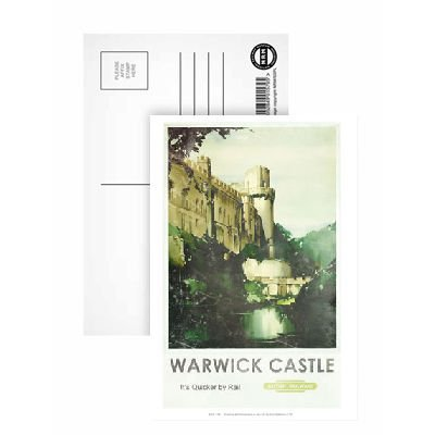 warwick-castle-quicker-by-rail-british-railways-poster-postcard-pack-of-8-highest-quality