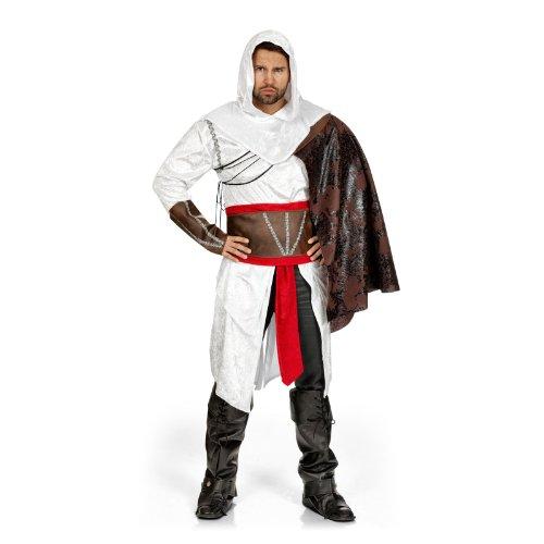 Kostüm Assassine - Assassinen Kostüm 3-tlg Kapuzen Gewand Gürtel Cape Style Ezio für LARP u. Fasching - 62/64