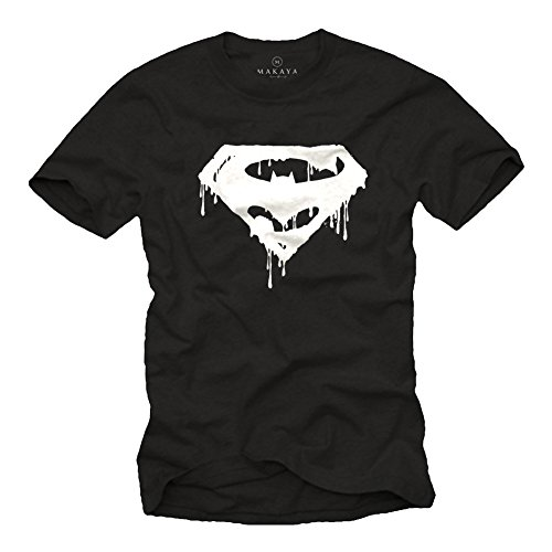 Superman Kostüm Schwarze - Superbat - Superman und Batman T-Shirt für Männer schwarz Größe XXXL