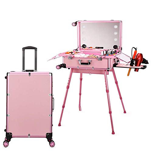 XUE Großer Trolley-Make-up-Koffer, Kosmetikkoffer für den rollenden Zug Beauty Artist-Make-up-Station mit dreifarbiger LED-Dimmung, Unterstützung für Bluetooth-Audio-Touchscreen-Universalräder -