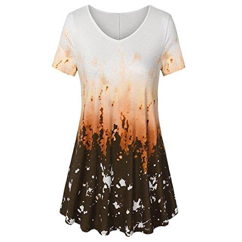 VEMOW Sommer Heißer Elegante Damen Mädchen Frauen V-Ausschnitt Kurzarm-Shirt Eine Linie Gebogene Saum Krawatte Farbstoff Lässige Top Bluse Tumblr Tshirts(Orange, EU-40/CN-S)