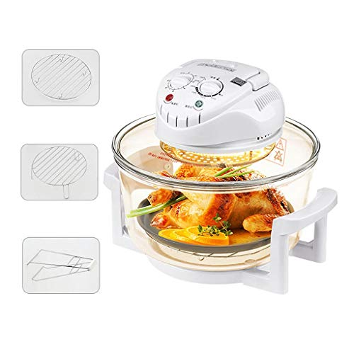 Luftfritteuse Hochborosilikatglas, ölfreie Multifunktions-Luftfritteuse 17L mit großem Fassungsvermögen und Grillrost, Infrarot-Konvektions-Halogen-Ofen-Arbeitsplatte für gesundes Kochen (Toaster Ofen-arbeitsplatte)