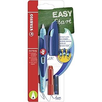 Schreibfarbe blau - inklusive Patrone Schulf/üller mit Anf/änger-Feder A l/öschbar STABILO EASYbuddy in schwarz//magenta Einzelstift