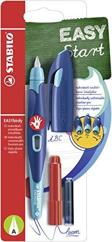 Ergonomischer Schulfüller für Rechtshänder mit Anfänger-Feder A - STABILO EASYbirdy in mitternachtsblau/azur - inklusive Patrone und Einstellwerkzeug