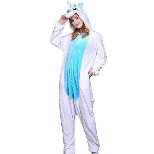 Imagen de m&a pijams unicornio animales franela disfraz cosplay para carnaval halloween navidad mujer hombre ropa de dormir azul s