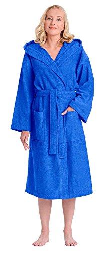 Arus Bademantel-Astra, für Damen und Herren mit Kapuze, wadenlang, 100% Flauschige Baumwolle Frottee, auch als Hausmantel Morgenmantel Saunamantel Größe: XXL, Farbe: Königsblau