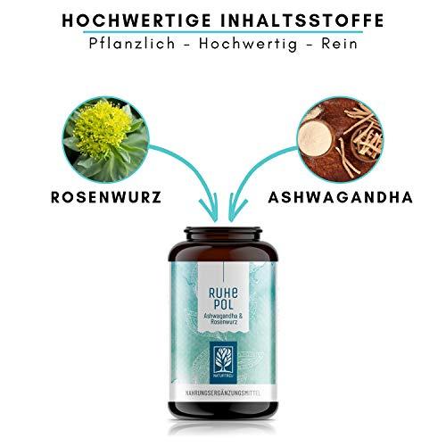 NATURTREU® Ashwagandha Rosenwurz Kapseln hochdosiert – 500mg Ashwagandha + 500mg Rhodiola Rosea – Vegan – 120 Kapseln – Pflanzlich und ohne Zusätze – Ruhepol