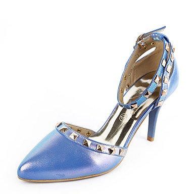 LvYuan Da donna-Sandali-Matrimonio Formale Serata e festa-D'Orsay-A stiletto-Finta pelle-Blu Rosa Bianco Dorato Blue