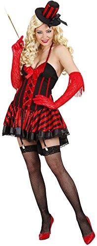 Damen Burlesque-Mädchen-Kostüm, Gr. L 42-42, für Wilde Westen, Saloon Mädchen Moulin Rouge