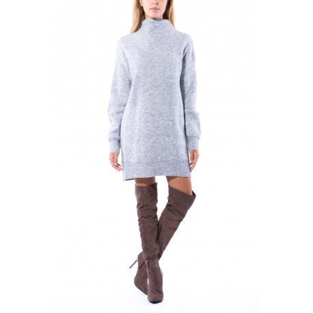 Ideal Shoes - Robe pull col montant Candia Gris