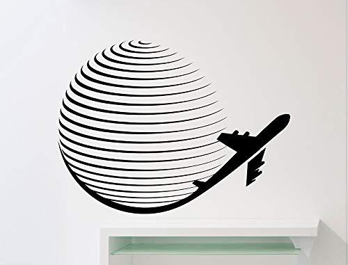 Global Patternd Mit Flugzeug Kunst Wandaufkleber Kreativ Gestaltete Wandtattoos Für Zuhause Wohnzimmer Dekor Spezielle Tapete Wm 45x60 cm - Candy-bar-handys