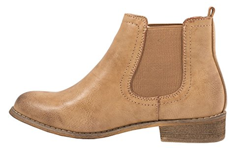 Elara Damen Chelsea Boots | Bequeme Flache Stiefel | Lederoptik Stiefeletten Camel Paris K8J7q3q