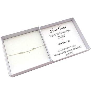 Konfirmationsgeschenk Mädchen, Kommunion Geschenk personalisiert, Kreuz Armband Silber
