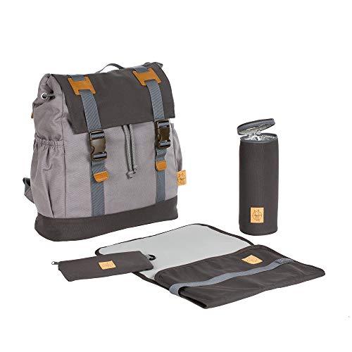 Lässig Vintage Little One und Me groß Backpack Wickelrucksack/Wickeltasche inkl. Wickelzubehör, grey