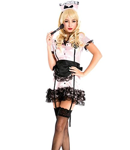 DuuoZy Frauen Sexy rosa Maid Krankenschwester Mini Kleid Set Party Cosplay Kostüm , led light bulb , (Sexy Kostüme Bar Maid)