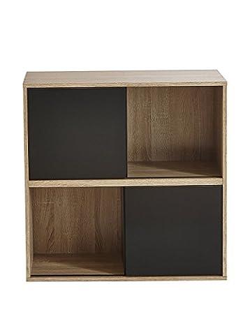 REGAL SLIDE Schiebetür kombinierbar Bücherregal Büroregal schwarz weiß Holz Set (512,