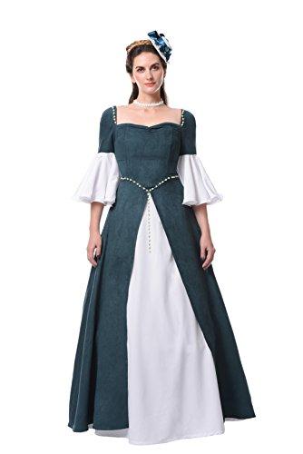 Damen Renaissance Mittelalterlichen Kleid Maxi Halloween Party Kostüm (38, GC314A-NI) (Victorian Lady Kostüme Perücke)