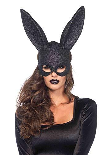 Leg Avenue 3760 - Glitter Maskerade Kaninchen-Maske - Einheitsgröße, - Schwarze Hasenohren Kostüm