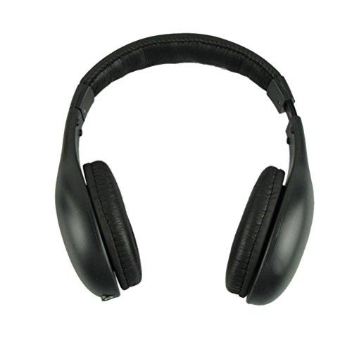 Kopfhörer auf Ohr Hirolan Drahtlos Kopfhörer Helm Audio- ohne Draht Hörmuschel HiFi Radio FM Fernseher MP3 MP4 verdrahteter Kopfhörer UKW-Radio (Schwarz) Radio-draht