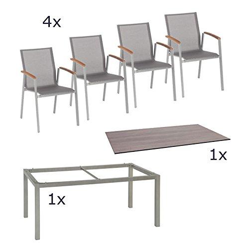 Stern Gartenmöbel Set Top 6-teilig Stapelsessel und Tischgestell aus Aluminium mit Silverstar Tischplatte im Dekor Tundra