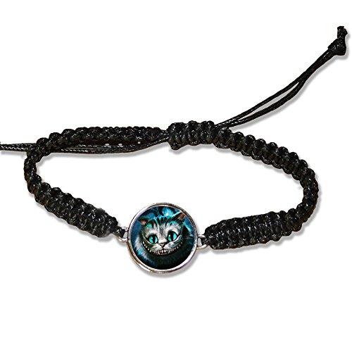 Bracelet en cuire noir Chat de cheshire face (Alice au pays des merveilles) - Fabriqué en France - Chamalow shop
