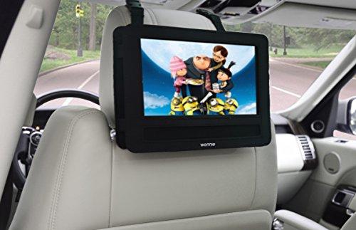 WONNIE Auto Kopfstützenhalterung für Drehgelenk & Flip Tragbarer DVD Player KFZ Kopfstütze Halterung Gehäuse (Black) (10.5 inch) - 2