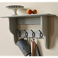 Industrial shelf with coat rack, pale grey, 2 to 10 hooks