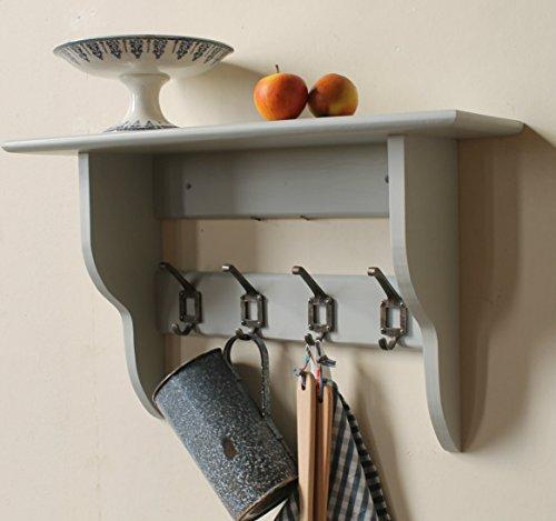 Goodwood Originals Hallway, kitchen or bathroom shelf with coat rack hooks pale grey (5 hooks)