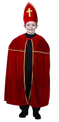 Halloweenia - Kinder Weihnachts Kostüm Set- Nikolaus- Saint Nicolas- Sinter klaas, 104-134, 4-9 Jahre, Rot