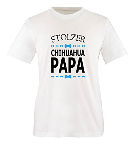 Comedy Shirts - Stolzer Chihuahua Papa - Herren T-Shirt - Weiss/Schwarz-Blau Gr. S - Chihuahua-schwarzes T-shirt