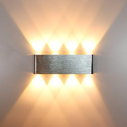 Kawell moderno applique da parete led lampada da parete alluminio lampada da muro interno per camera da letto, corridoio, soggiorno, scale, ktv, bianco caldo 16w led