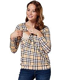 HAPPY MAMA. Mujer Top Diseño de Capa T-Shirt Premamá Lactancia Manga Larga. 005p