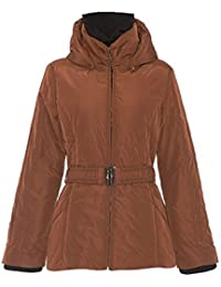 David Barry Tan Womens Hooded Padded Winter Jacket