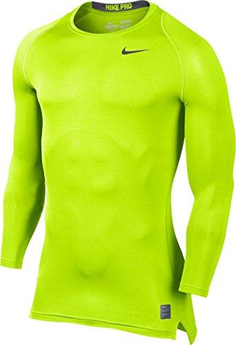 Nike M NP Top Comp Ls CRW Shirt, Herren Gelb (Volt/dunkelgrau)