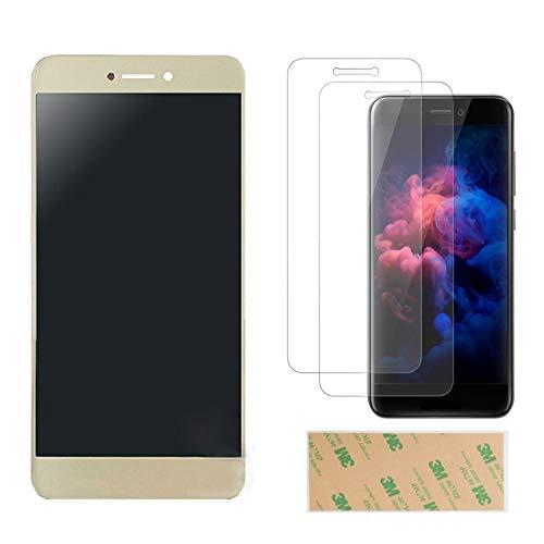 """SHANCHU Digitizer Ecran LCD Complet + Vitre Tactile Assemblé Remplacement pour Huawei P8 Lite 2017 5.2"""" avec Verre Trempé Huawei P8 Lite 2017[Lot de 2]+3M Adhésif (Or)"""